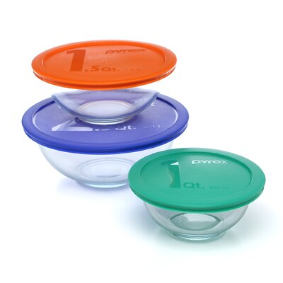 Smart Essentials 6 Piece Mixing Bowl with Colored Lid Set