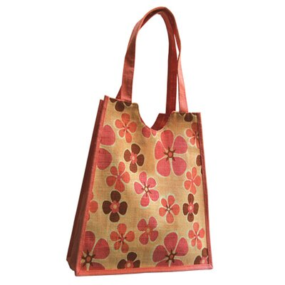 Natural Damask Rose Jute Carry Tote Bag