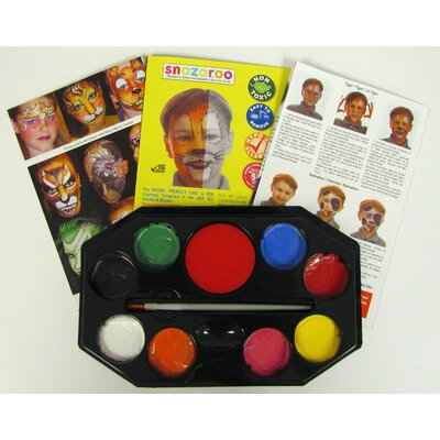 SnazarooUSA Primary Rainbow 8 Color Face Paint Kit with Brush and Sponge