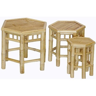 Natural Bamboo 3 Piece Nesting Stools Set