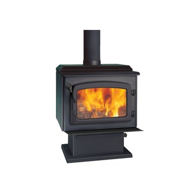Drolet Escape 1800 Black Door Wood Stove on Pedestal