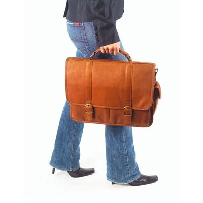 Clava Leather Vachetta Laptop Briefcase in Café