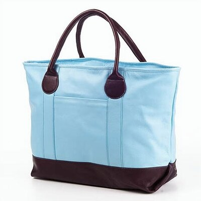 Clava Leather Colored Vachetta Nantucket Tote in Blue/Café