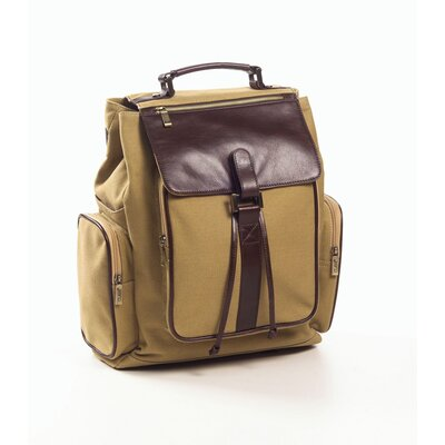 Canvas and Leather Backpack in Khaki