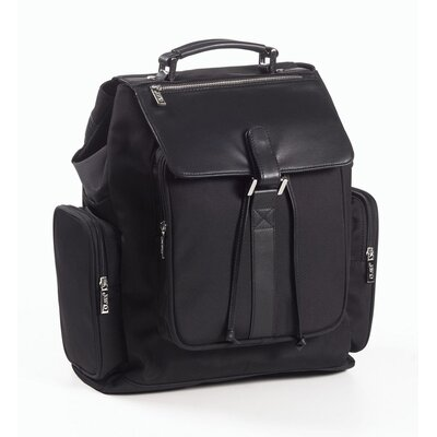 Nylon and Leather Backpack in Black