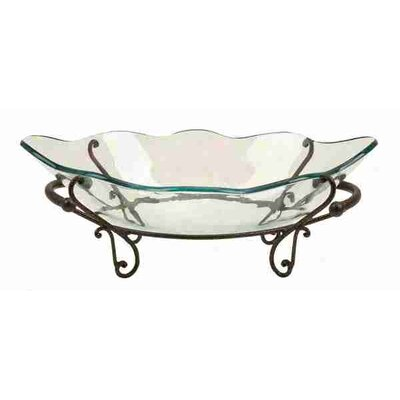 UMA Enterprises Urban Trends Antique Glass Bowl Metal Stand