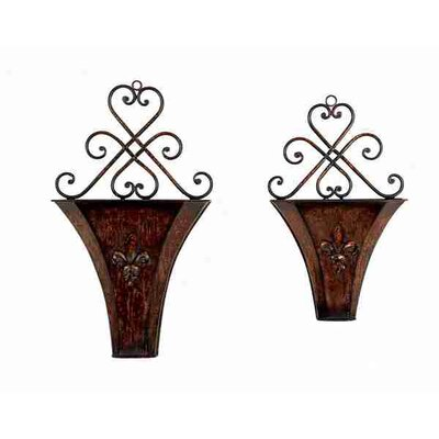 UMA Enterprises Toscana Metal Wall Planters  (Set of 2)