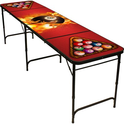 Red Cup Pong 8 Ball Fire Beer Pong Table in Black Aluminum