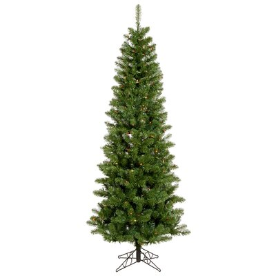 "Vickerman Co. Salem Pencil Pine 4' 6"" Green Artificial Christmas Tree with 110 Multicolored LED Lights with Stand"