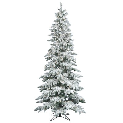 Flocked Utica Fir 9' White Artificial Christmas Tree with 495 LED White Lights with Stand ...