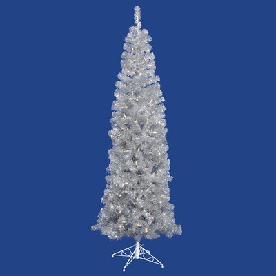 Vickerman Co. 6.5' Artificial Pencil Christmas Tree with Clear Lights in Silver