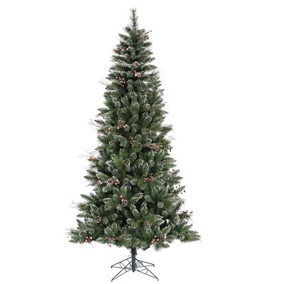 7' Green Snowtip Berry/Vine Artificial Christmas Tree with Metal Stand