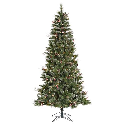 "Vickerman Co. 4' 6"" Green Snowtip Berry/Vine Artificial Christmas Tree with 150 Clear Mini Lights with Stand"