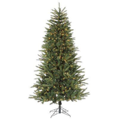 7' Green Bradfo Red Fir Artificial Christmas Tree with 400 Clear Mini Lights with Stand ...