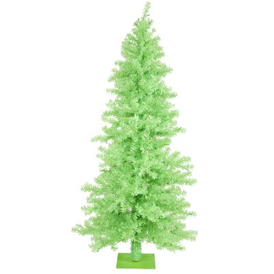 Chartreuse Wide Cut 6' Green Artificial Christmas Tree with 200 Green Mini Lights with Stand ...