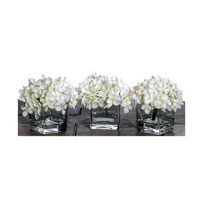 Vickerman Co. Floral Artificial Potted Premium Mini Hydrangea in White (Set of 3)