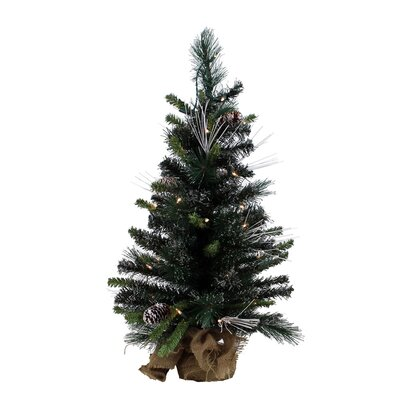 "Vickerman Co. Glitter 2' 6"" Green Mixed Pine Artificial Christmas Tree with 35 Clear Lights"