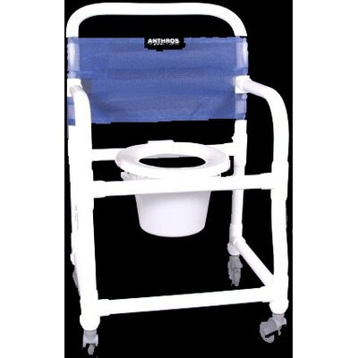 "Anthros Medical Pvc 21"" Fixed Arm Shower/Commodeode Chair in Royal"