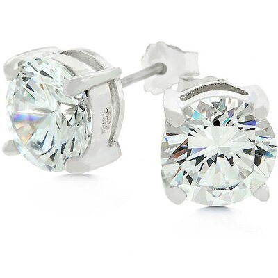 J Goodin White Gold Bonded Sterling Silver Stud Cubic Zirconia Earrings