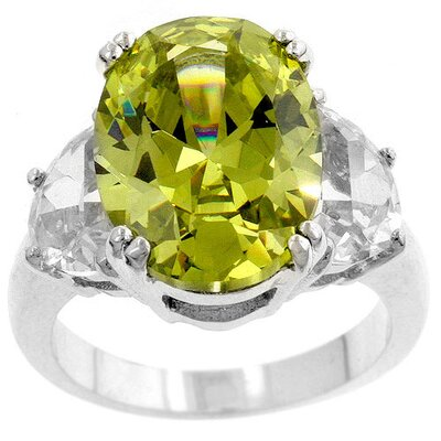 Silver-Tone Green Cubic Zirconia Oval Ring