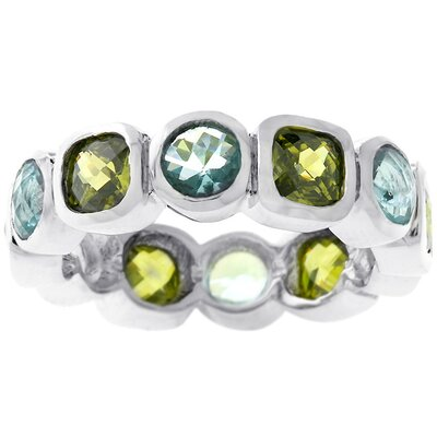 J Goodin Silver-Tone Olive and Blue Cubic Zirconia Eternity Band