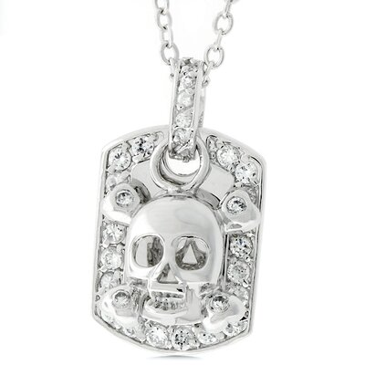 Silver-Tone Skull and Crossbones Dog Tag Cubic Zirconia Necklace
