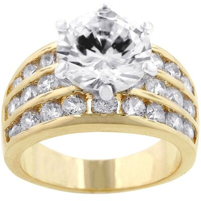 J Goodin Gold-Tone Triple Band Large Cubic Zirconia Ring
