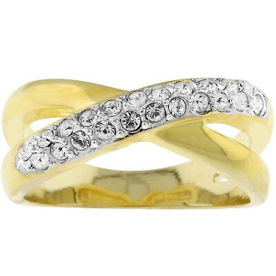 Gold-Tone Criss-Cross Cubic Zirconia Ring