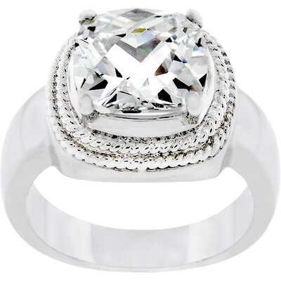Silver-Tone Clear Five Carat Cubic Zirconia Princess Cut Solitaire Ring