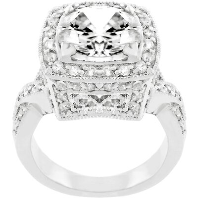 White Gold Rhodium Bonded Cubic Zirconia Bright Lights Cocktail Ring