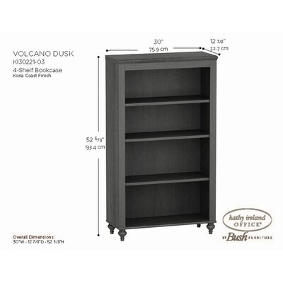 kathy ireland Office by Bush Volcano Dusk 4-Shelf Bookcase in Kona Coast Espresso Finish