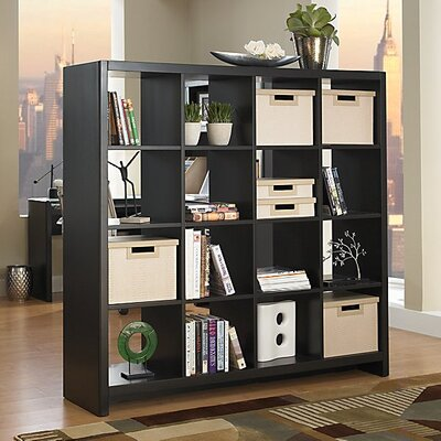 kathy ireland Office by Bush New York Skyline 16-Cube Room Divider in Mocha Finish