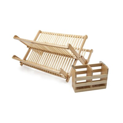 Core Bamboo Dish Rack with Utensil Holder in Natural