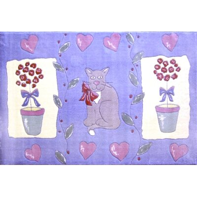 Fun Rugs Jade Reynolds Cat and Pot Flower Kids Rug