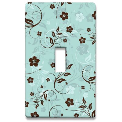 HomePlates Worldwide Floral: Mint and Chocolate Decorative Light Switch Cover - Single Toogle Switch