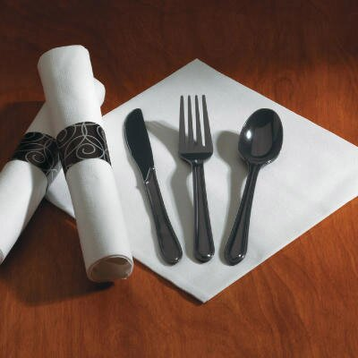 HOFFMASTER® (100 packs per carton) Heavyweight Fork/Knife/Spoon Utensil Set in Black