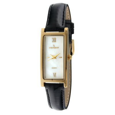Women's Watch with Black Leather Strap in Gold Tone