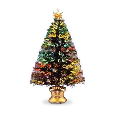 Evergreen Fiber Optic Firework 4' Green Artificial Christmas Tree with Multicolor Lights with Base