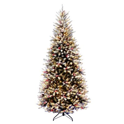 "National Tree Co. Dunhill Fir Pre-Lit 7' 6"" Slim Artificial Christmas Tree with 600 Pre-Lit Snow Lights with Stand"