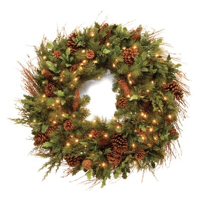 "National Tree Co. Pre-Lit 30"" Juniper Mix Pine Wreath"