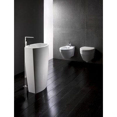 GSI Collection Losagna Oval Trendy White Ceramic Floor Bathroom Sink