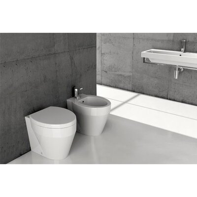 GSI Collection Losagna Contemporary Round White Ceramic Wall Mounted Bidet