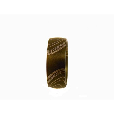 Obsessed Stainless Steel Men's Black Wood Grain Etched Ring