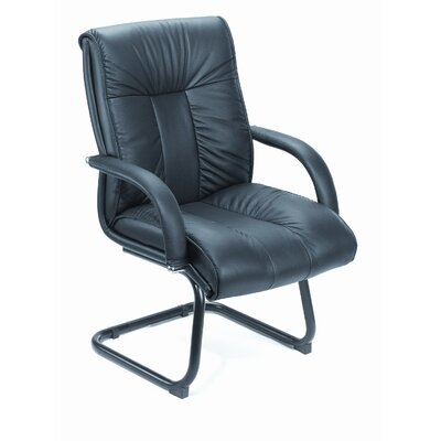 Boss Office Products Leather Guest Chair with Upholstered Armrests