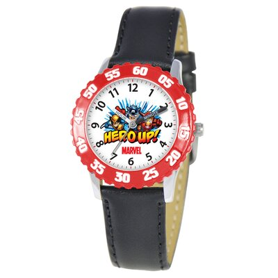 Marvel Kid's Heroes Time Teacher Watch in Black with Red Bezel