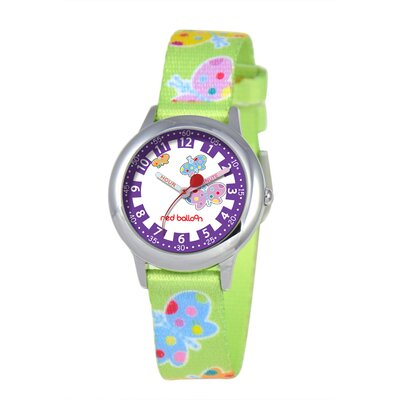 Red Balloon Kid's Butterflies Time Teacher Printed Strap Watch in Green