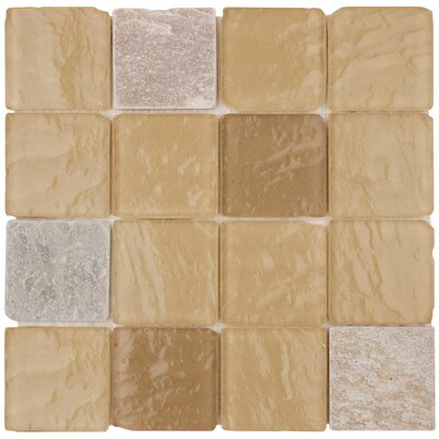 "Surfaces Elida Glass 12"" x 12"" Mosaic in Beige Pyramids"