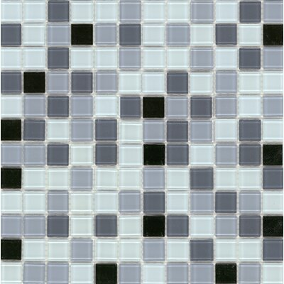 "Surfaces Elida Glass 12"" x 12"" Mosaic in Silver Multicolor"
