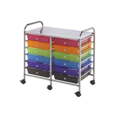 Alvin and Co. Blue Hills Studio Storage Cart with Twelve Multicolor Drawers