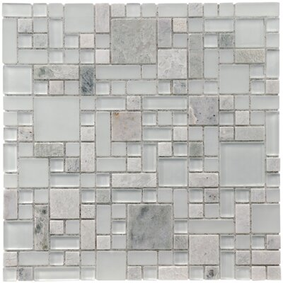 "EliteTile Sierra 12"" x 12"" Polished Glass and Stone Versailles Mosaic in Ming"